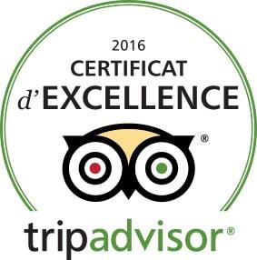 2016 - certificat d'excelence Tripadvisor.canoe rafting ariege