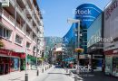 Andorra la Vella, Andorra - July 9, 2015: Street view with pedestrians of Andorra la Vella, the capital city of Andorra